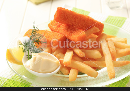 Fried fish fingers with French fries stock photo, Fried fish sticks with French fries and creamy dip by Digifoodstock