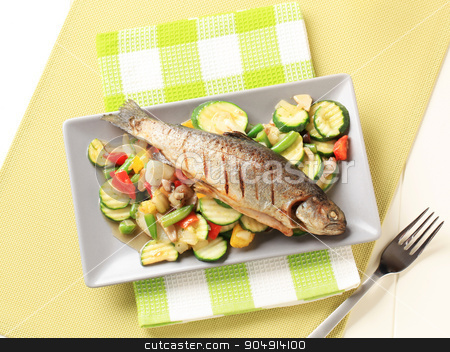 Grilled trout and mixed vegetables stock photo, Grilled trout served with mixed vegetables by Digifoodstock
