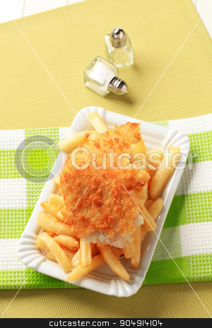 Fish and chips stock photo, Fried breaded fish fillet with French fries by Digifoodstock