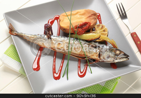 Simple baked mackerel recipe stock photo, Roasted whole mackerel with potato and raspberry balsamic reduction by Digifoodstock