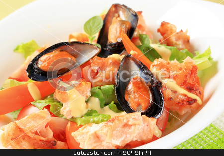 Salmon and mussel salad stock photo, Salmon and mussel salad with a drizzle of Hollandaise sauce by Digifoodstock