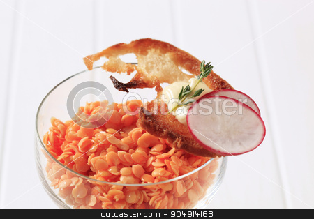 Vegetarian appetizer stock photo, Red lentil salad and piece of fried bread by Digifoodstock
