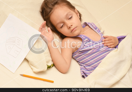 Little girl sleeping with picture stock photo, Cute little girl sleeping with picture in her bed at home by Ruslan Huzau