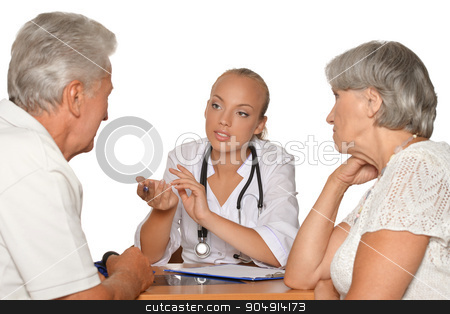 Old couple visitting  female doctor stock photo, Old couple visitting a female young doctor on white by Ruslan Huzau
