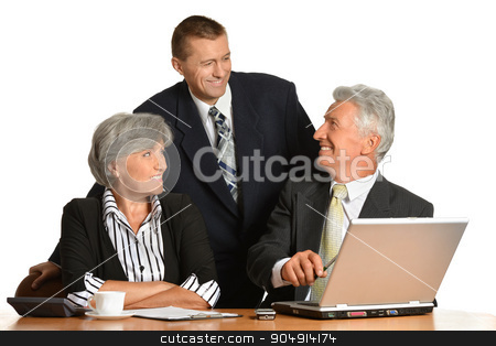 Businesspeople working with laptop stock photo, Portrait of businesspeople working with laptop on white background by Ruslan Huzau
