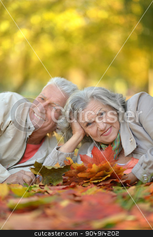 Senior couple in park stock photo, Portrait of a senior couple resting at autumn park by Ruslan Huzau
