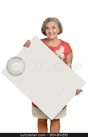 Senior woman with  blank stock photo, Senior woman with hands up and white blank by Ruslan Huzau