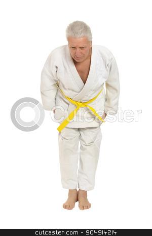 Senior man in karate pose stock photo, Senior man in karate pose on white background by Ruslan Huzau