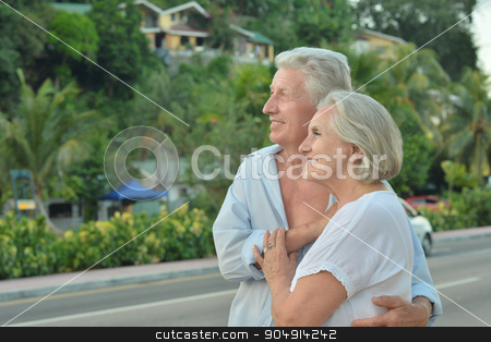 elderly couple rest at tropical resort stock photo, Beautiful happy elderly couple rest at tropical resort by Ruslan Huzau