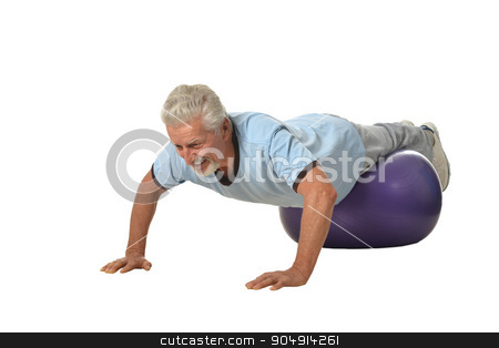 Senior man exercising with fitness ball stock photo, Senior man exercising with fitness ball on white background by Ruslan Huzau