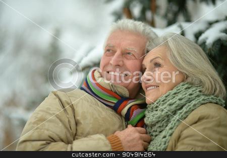 senior couple at winter outdoors stock photo, Portrait of a happy senior couple at winter outdoors by Ruslan Huzau