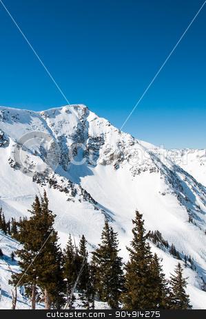 Snowbird 2 stock photo, Cliffs covered in snow on a bright winter day by Daniel Stewart