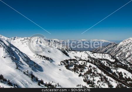 Snowbird 1 stock photo, Salt Lake Valley and Little Cottonwood Canyon by Daniel Stewart