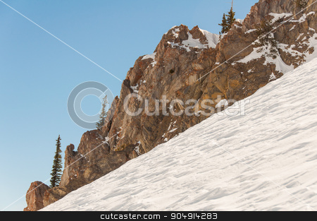 Snowbird 9 stock photo, Steep incline coated with thick layers of Ice by Daniel Stewart