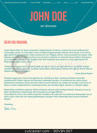 Modern cover letter cv resume in turquoise red colors stock vector clipart, Modern cover letter cv resume template design in turquoise red colors by Mihaly Pal Fazakas