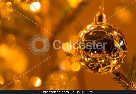 Abstract blurry christmas background stock photo, Abstract blurry christmas background. Blurred colorful circles bokeh of christmas lights  by Artush