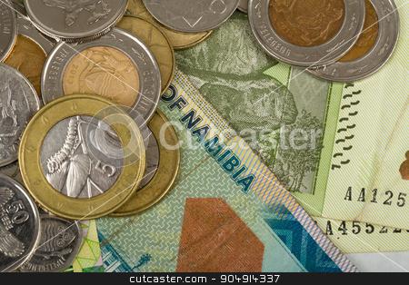 South african countries banknotes stock photo, South african countries banknotes and coins for background. Botswana pula, Namibian dollar, South Africa rand and Zimbabwe dollars. by Artush