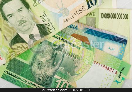 South african countries banknotes stock photo, South african countries banknotes for background. Botswana pula, Namibian dollar, South Africa rand and Zimbabwe dollars. by Artush