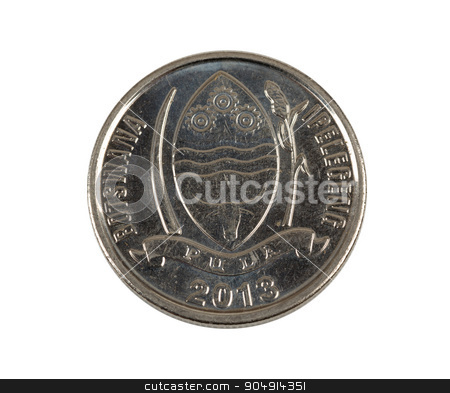 Detail of Botswana Pula thebe coin stock photo, Detail of Botswana Pula thebe coin. Botswana Pula is the national currency of Botswana by Artush