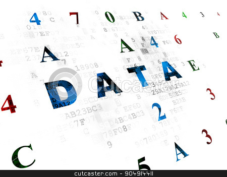 Data concept: Data on Digital background stock photo, Data concept: Pixelated blue text Data on Digital wall background with Hexadecimal Code by mkabakov