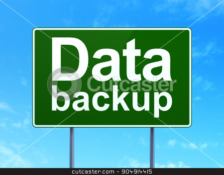 Data concept: Data Backup on road sign background stock photo, Data concept: Data Backup on green road highway sign, clear blue sky background, 3d render by mkabakov