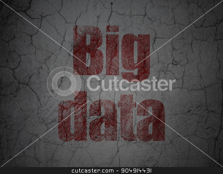 Data concept: Big Data on grunge wall background stock photo, Data concept: Red Big Data on grunge textured concrete wall background by mkabakov