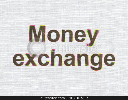 Banking concept: Money Exchange on fabric texture background stock photo, Banking concept: CMYK Money Exchange on linen fabric texture background by mkabakov