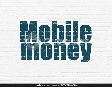 Banking concept: Mobile Money on wall background stock photo, Banking concept: Painted blue text Mobile Money on White Brick wall background by mkabakov