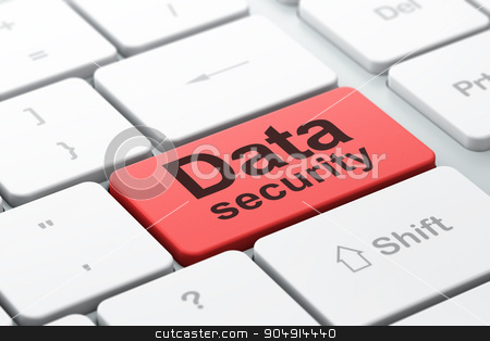 Privacy concept: Data Security on computer keyboard background stock photo, Privacy concept: computer keyboard with word Data Security, selected focus on enter button background, 3d render by mkabakov
