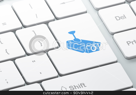 Security concept: Cctv Camera on computer keyboard background stock photo, Security concept: Enter button with Cctv Camera on computer keyboard background, 3d render by mkabakov
