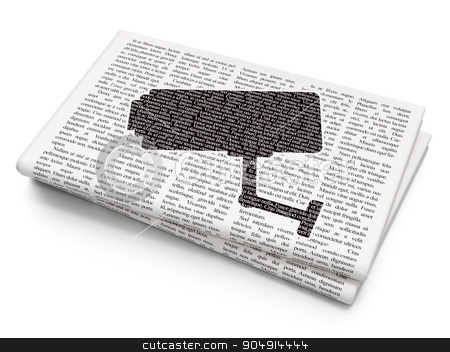 Security concept: Cctv Camera on Newspaper background stock photo, Security concept: Pixelated black Cctv Camera icon on Newspaper background by mkabakov