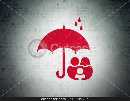 Security concept: Family And Umbrella on Digital Paper background stock photo, Security concept: Painted red Family And Umbrella icon on Digital Paper background by mkabakov