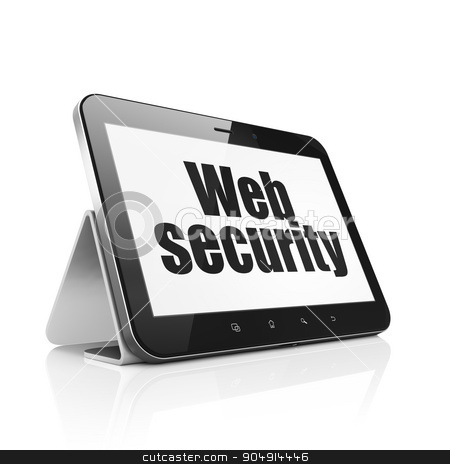 Privacy concept: Tablet Computer with Web Security on display stock photo, Privacy concept: Tablet Computer with  black text Web Security on display,  Tag Cloud background by mkabakov