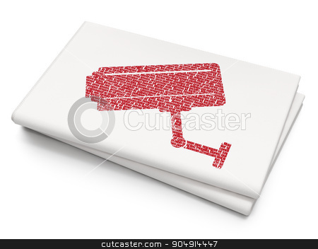 Protection concept: Cctv Camera on Blank Newspaper background stock photo, Protection concept: Pixelated red Cctv Camera icon on Blank Newspaper background by mkabakov