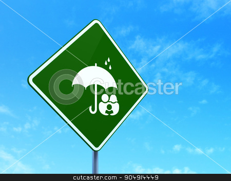 Safety concept: Family And Umbrella on road sign background stock photo, Safety concept: Family And Umbrella on green road highway sign, clear blue sky background, 3d render by mkabakov