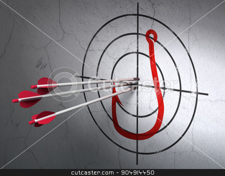 Privacy concept: arrows in Fishing Hook target on wall background stock photo, Success privacy concept: arrows hitting the center of Red Fishing Hook target on wall background by mkabakov