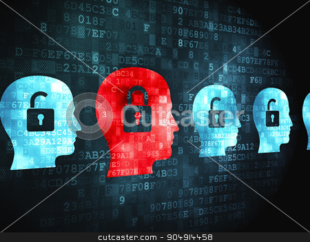 Finance concept: Head With Padlock on digital background stock photo, Finance concept: pixelated Head With Padlock icon on digital background by mkabakov