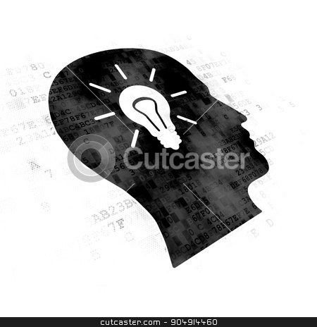 Finance concept: Head With Light Bulb on Digital background stock photo, Finance concept: Pixelated black Head With Light Bulb icon on Digital background by mkabakov