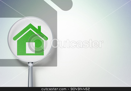 Finance concept:  Home with optical glass on digital background stock photo, Finance concept: magnifying optical glass with Home icon on digital background, empty copyspace for card, text, advertising by mkabakov