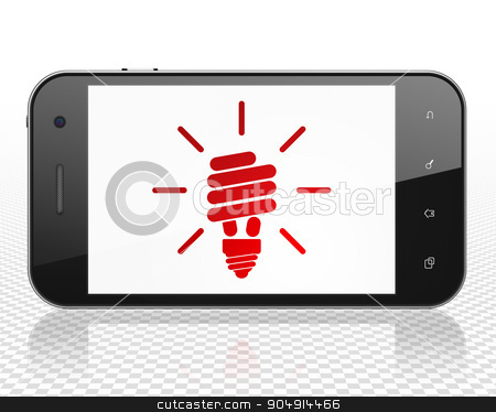 Business concept: Smartphone with Energy Saving Lamp on display stock photo, Business concept: Smartphone with red Energy Saving Lamp icon on display by mkabakov