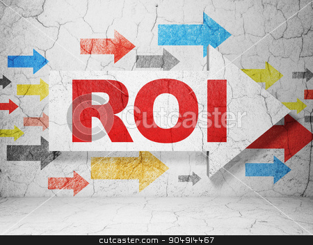 Business concept: arrow with ROI on grunge wall background stock photo, Business concept:  arrow with ROI on grunge textured concrete wall background by mkabakov