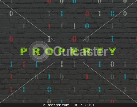 Business concept: Property on wall background stock photo, Business concept: Painted green text Property on Black Brick wall background with Binary Code by mkabakov