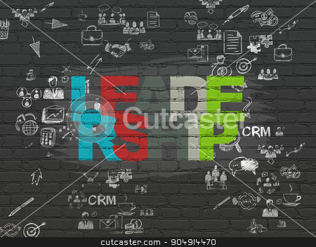 Finance concept: Leadership on wall background stock photo, Finance concept: Painted multicolor text Leadership on Black Brick wall background with Scheme Of Hand Drawn Business Icons by mkabakov