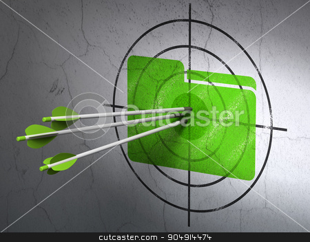 Finance concept: arrows in Folder target on wall background stock photo, Success finance concept: arrows hitting the center of Green Folder target on wall background by mkabakov