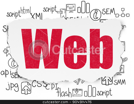 Web design concept: Web on Torn Paper background stock photo, Web design concept: Painted red text Web on Torn Paper background with  Hand Drawn Site Development Icons by mkabakov