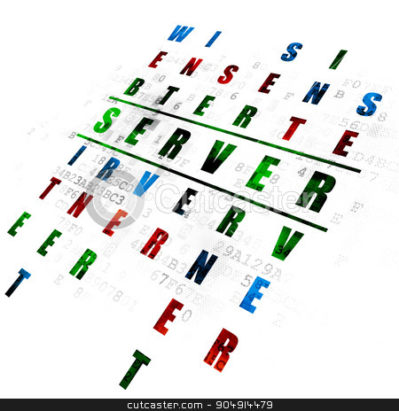 Web design concept: Server in Crossword Puzzle stock photo, Web design concept: Pixelated green word Server in solving Crossword Puzzle on Digital background by mkabakov