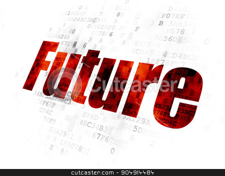Timeline concept: Future on Digital background stock photo, Timeline concept: Pixelated red text Future on Digital background by mkabakov
