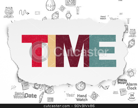 Time concept: Time on Torn Paper background stock photo, Time concept: Painted multicolor text Time on Torn Paper background with Scheme Of Hand Drawing Time Icons by mkabakov