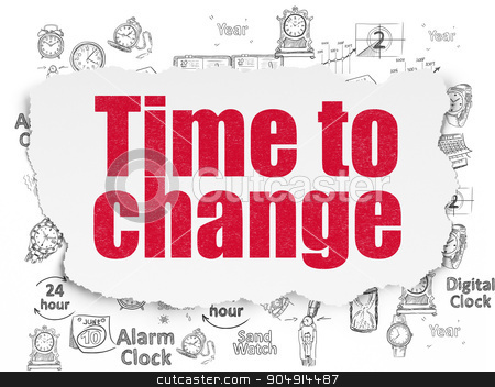 Time concept: Time to Change on Torn Paper background stock photo, Time concept: Painted red text Time to Change on Torn Paper background with  Hand Drawing Time Icons by mkabakov