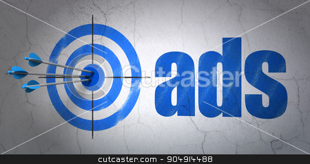 Marketing concept: target and Ads on wall background stock photo, Success marketing concept: arrows hitting the center of target, Blue Ads on wall background by mkabakov